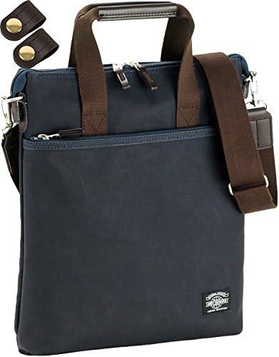 縦型 ショルダーバッグ 撥水素材使用 A4ファイル対応 [タケハチ] 竹八謹製 [牛革製ケーブルバンド2個] セット tm0402