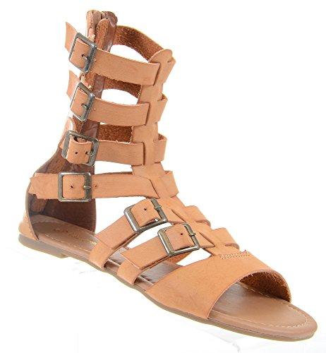 Fourever Funky, simili cuir, boucle, bottines à la cheville, sandales, tan