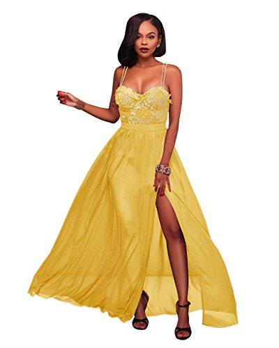 Women' Elegant Spaghetti Strap Sleeveless Formal Evening Cocktail Party Long Maxi Dress Yellow, Small