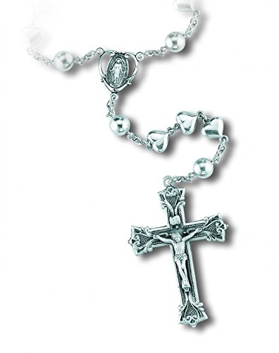Catholic Sterling Silver Heart Shaped Miraculous with Round and Heart Prayer Beads Rosary