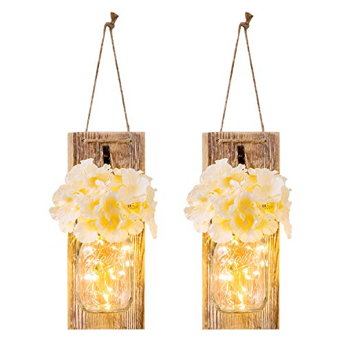 HAchoo Mason Jar Sconces with LED - Fairy Lights,Vintage Wrought Iron Hooks, Silk Hydrangea Flower and LED Strip Lights Design for Home Kitchen Decoration Set of 2