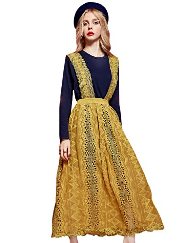 [Elf Sack Womans Spring Lace Long Dress and T-shirt Sets Yellow Large] (Elf Outfit For Women)