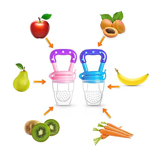 - Baby Fruit Pacifier & Baby Food Feeder (2 Pack), Silicone Feeder/Fruit Teether, Food Pacifier, Silicone Nipples for Infant & Toddler