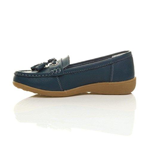 Damen Kleinen Keilabsatz Leder Quaste Komfort Halbschuhe Boot Mokassins Größe Marineblau