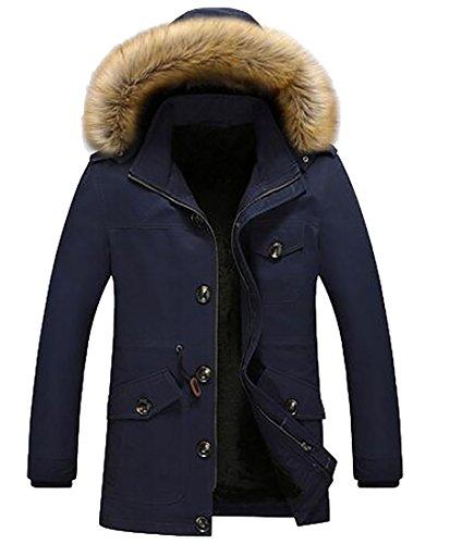 today-UK Men's Hooded Faux Fur Lined Warm Coats Outwear Winter Jackets 1