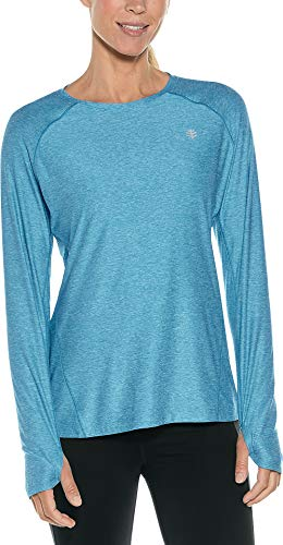 Coolibar UPF 50+ Women's Devi Long Sleeve Fitness T-Shirt - Sun Protective (Medium- Triumph Blue Heather)