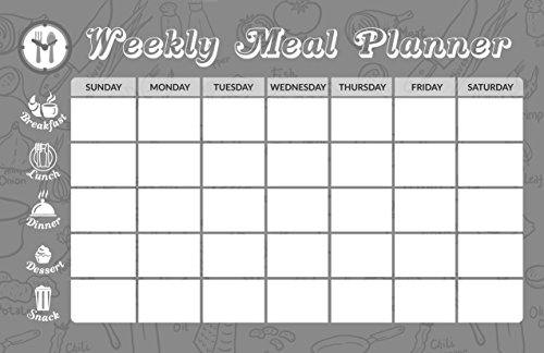 Magnetic Dry Erase Weekly Meal Planner 11x17 Whiteboard