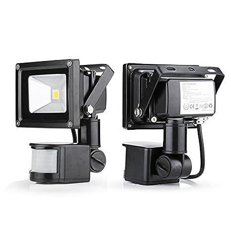 2x Foco Luz LED,10W Sensor de movimiento con Luz inalámbrico para Exteriores incluyendo Patio