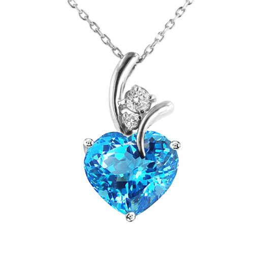 3.00 Carat Blue Topaz & White Sapphire Heart Pendant in Sterling Silver with Chain