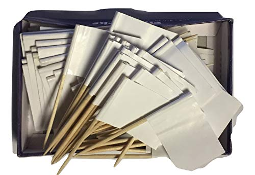 (Box of 100 Solid White Blank Toothpick Flags Dinner Flags Cocktail Flags Ships Fast Windstrong® )