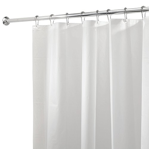 iDesign PEVA Plastic Shower Curtain Liner, Mold and Mildew Resistant Plastic Shower Curtain for use Alone or With Fabric Curtain, 72 x 72 Inches, White