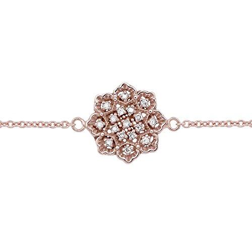 10k Rose Gold Floral Style Diamond Pendant Bracelet by Instagems (Image #1)