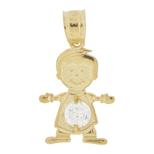 14k Yellow Gold, Small Boy Pendant Charm White April Created CZ Birthstone (14kt Gold Baby Boy Charm)