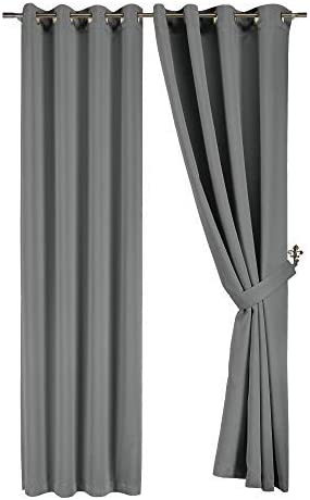 JD Home Solid Grommet Top Thermal Insulated Blackout Window Curtain 104 Wx84 L -1 Pair Gray