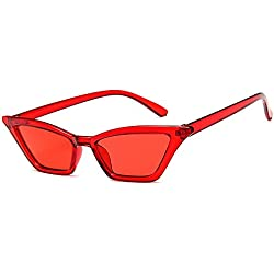 Unisex Gafas de sol para mujer Personalidad Ojos de gato de dama Gafas de sol pequeñas Gafas de sol con montura transparente Protección UV fresca para mujeres Lentes de colores Lentes de sol para cond