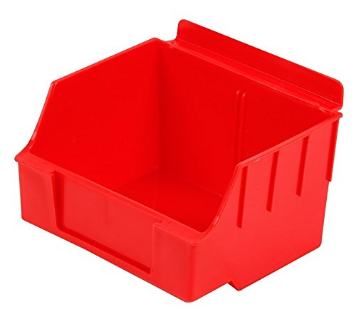 Slatwall Storage / Display bin, Plastic (polypropylene), 4.62''L x 5.5''W x 3.37''H, Red (20 Pack) Fits grid and pegboard with optional adapters. by Slatbox brand, Storbox Standard model