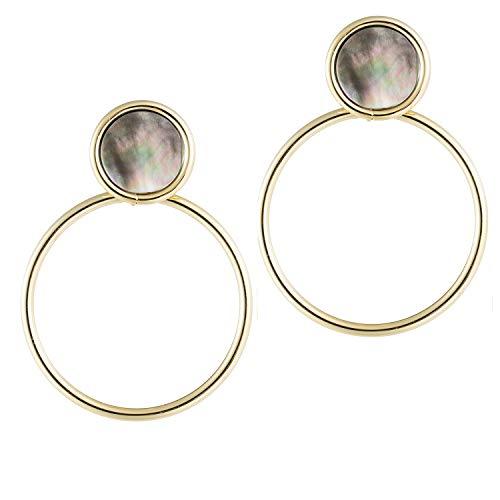 (14K Gold Dangle Hoop Earrings for Women Black Shell Statement Large Drop Earrings Fashion Bridal Elegant Beautiful Wedding Paua earrings for Gift Black)
