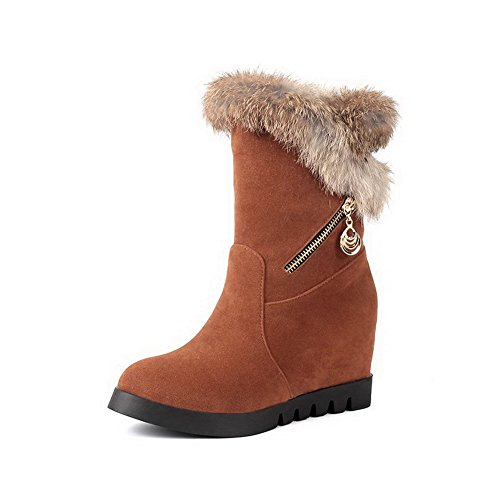 AmoonyFashion Women's Pull-On Imitated Suede High-Heels Mid-Top Round Closed Toe Boots, Brown, 33