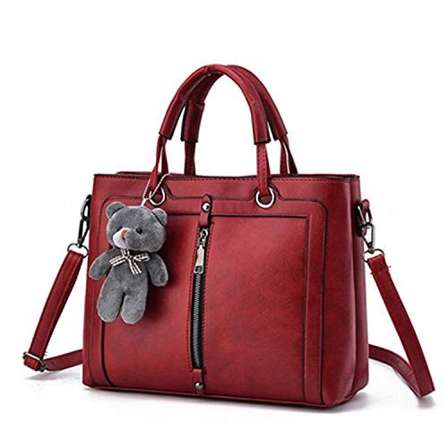 large capacity ladies totes zipper bear strap thread shopping office women crossbody shoulder bag handbags,Red