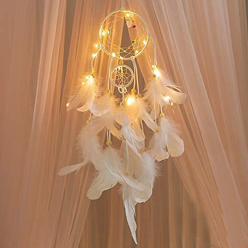 Tuscom Handmade Dream Catcher LED Light Feather Pendant Indoor Outdoor Decorative Light Garden Garden PartyChristmas Tree Wedding Dorm Room Decoration(3 Colors 55x11cm) (White) -