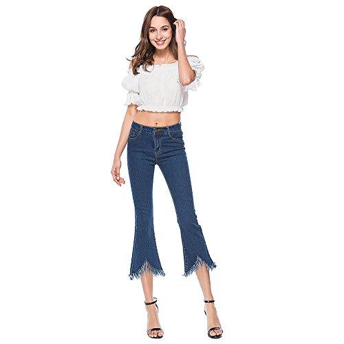 E Inverno Jeans Fit Blu Polpaccio Denim casual Con Sportivi autunno Bassa A elegante leggings Vita a Skinny 2018 Tinta Slim Pantaloni Unita meibax Traspiranti Donna qHwEzU4