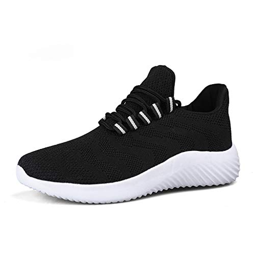 - iHPH7 Shoes Running Sport Athletic Sneakers Fly Knit Breathable Wear Sneakers Solid Color Breathable Casual Shoes Couple (36,Black)
