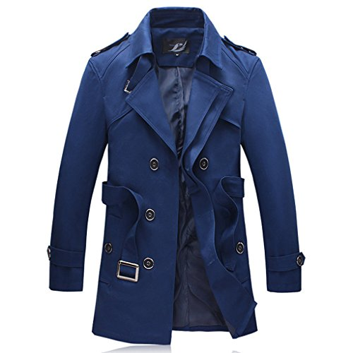 MOGU Men's Double-Breasted Belted Twill Trench Coat US Size 35(Tag Asian Size L) Blue ()