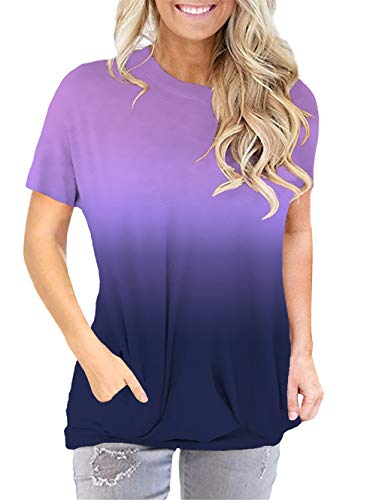 onlypuff Short Sleeve Purple Casual Shirts for Women Ombre Tie Dye Shirt Pocket Tee Shirt XL (Best Shirts For Tie Dye)