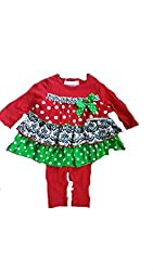 Bonnie Baby Girls Christmas Holiday Ruffle Multi Print Tiered Legging and Top Set