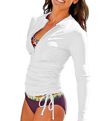 Women's Long Sleeve Rash Guard Wetsuit Swimsuit Top UV Sun Protection (901 M, White)