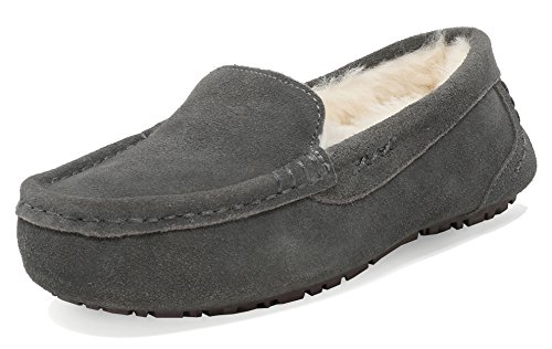 DREAM PAIRS Women's Auzy-01 Grey Sheepskin Fur Slippers Loafers Shoes Size 7.5-8 M US