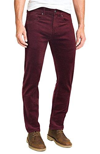 ETHANOL Men's Slim Stretchy Casual Corduroy Pant APL46376SK Wine 36