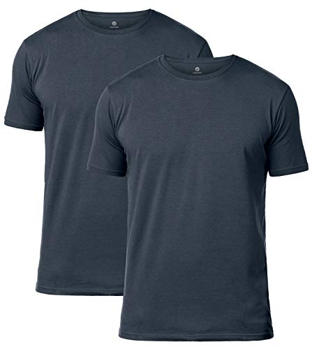 Lapasa Mens 2-Pack T Shirts Tag-Free Crew Neck Cotton Stretch Undershirts M05, Gray, X-Large/Chest 44-46 -