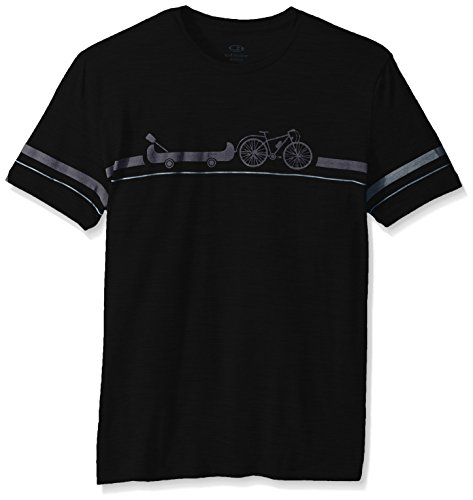 Icebreaker Merino Men's Tech Lite T-Shirt w/Graphic, New Zealand Merino Wool, Road to River - Black, Medium