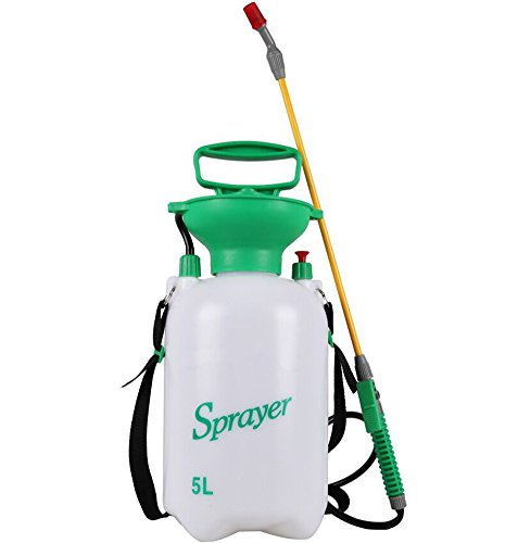 HOMEDECISION 5L Lawn and Garden Pump Pressure Sprayer with Shoulder Strap for Herbicides, Pesticides, Fertilizers, Mild Cleaning Solutions and Bleach White by Home Decision