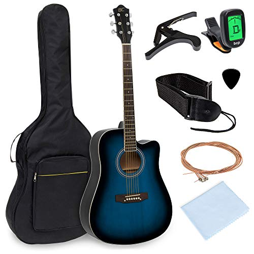 Best Choice Products 41in Full Size Beginner Acoustic Cutaway Guitar Set w/Case, Strap, Capo, Strings, Tuner - - String Bass 5 Cutaway