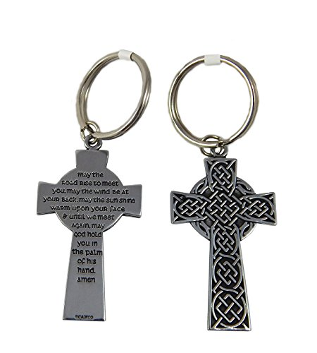 Celtic Cross Key Ring May the Road Rise Set of 2]()