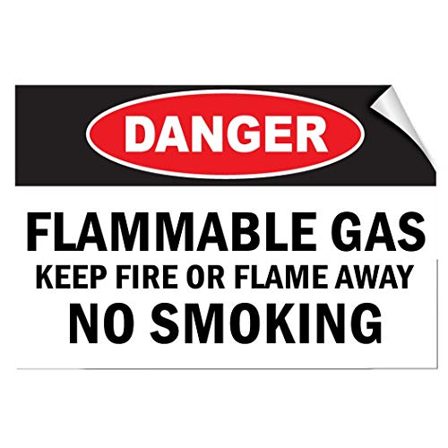 Label Decal Sticker Danger Flammable Gas Keep Fire Or Flame Away No Smoking Durability Self Adhesive Decal Uv Protected & Weatherproof ()