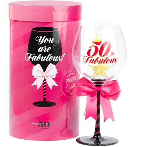 50 and Fabulous Birthday Wine Glass for Women | Fun Gift for Woman Turning Fifty Years Old | Mom, Best Friend, Aunt, Cousin, Co-Worker | Big 23 oz, 8.8 Inch Tall Wine Glass