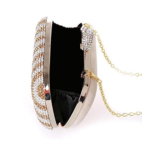 KAXIDY Luxus Damentasche Tasche Clutch Handtasche Abendtasche Brauttasche Geldbörsen Tasche mit Strass für Party Hochzeit Gold iMqhky