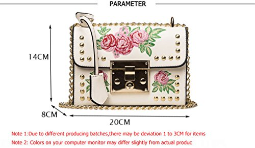 Women Shoulder Flap Brown Rivet Bag PU Fashion Flower Bags Bag Embroidery Small Feminina Leather Messenger Sac Ladies rpOrqwB