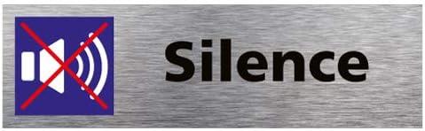 Sticker de Porte Silence Dimensions 170 x 50 mm Aspect Aluminium Bross/é