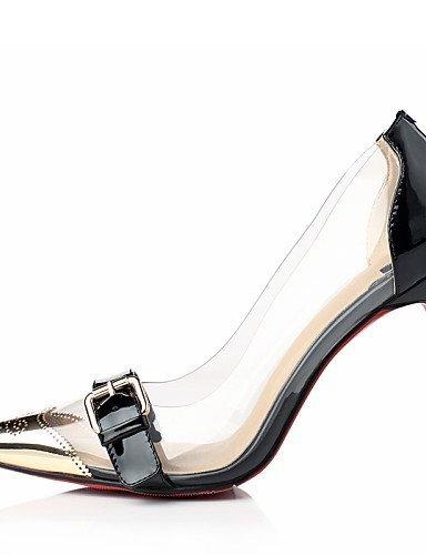 Shangyi Evénement Talon amp; Rouge Or Pointu Talons Soirée Chaussures Aiguille Habillé Black Cuir Noir Bout Femme SqwXSzxr