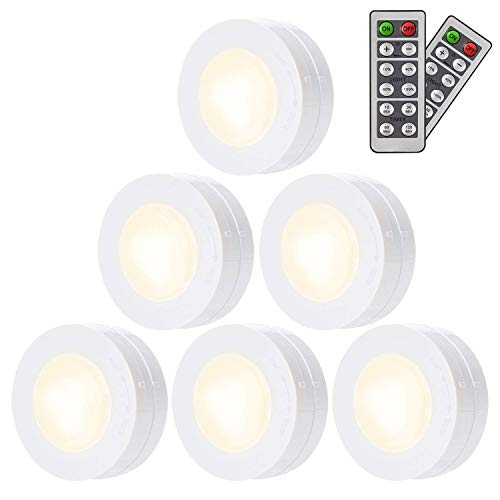 Led Under Cabinet Lighting Salking Wireless Led Puck Lights With Remote Control Dimmable Closet Light Natural White Battery Powered Under Counter Lights For Kitchen 6 Pack