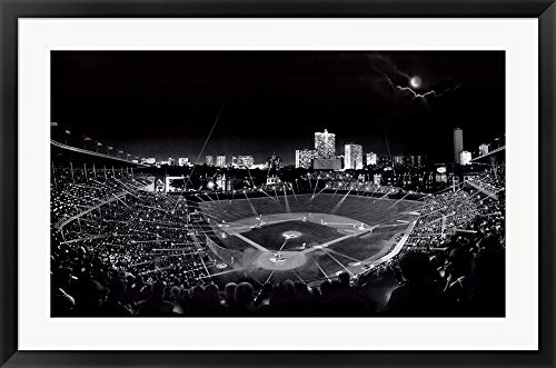 (Wrigley Field by Scott Mutter Framed Art Print Wall Picture, Black Frame, 39 x 26 inches)