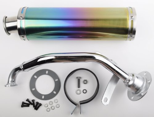 Scooter Performance Exhaust With Multicolor Chrome Muffler 150cc