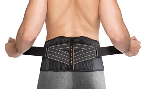 Copper Fit Unisex-Adult's Rapid Relief Back Support Brace with Hot/Cold Therapy, Black, Small/Medium (Copper Fit Waistband)