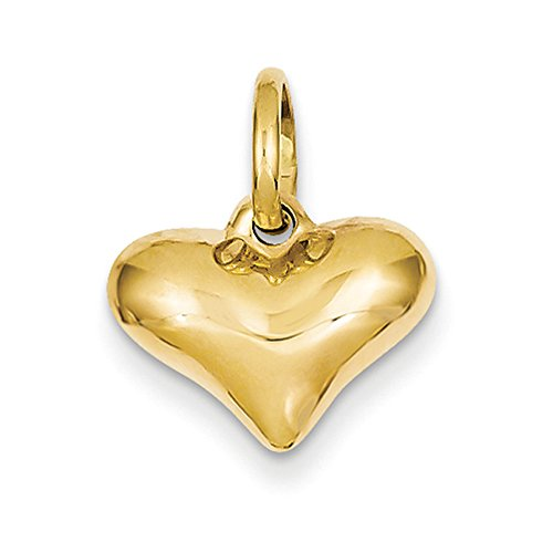 14k Yellow Gold Hollow Puffed Heart Charm or Pendant, (14 Mm Hammered Heart)
