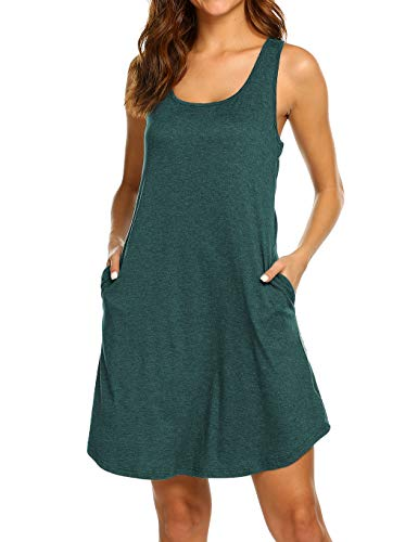 LuckyMore Dresses for Women Casual Summer with Pockets Loose Fit Sleeveless Tunic Dress with Pockets Dark Green, M ()