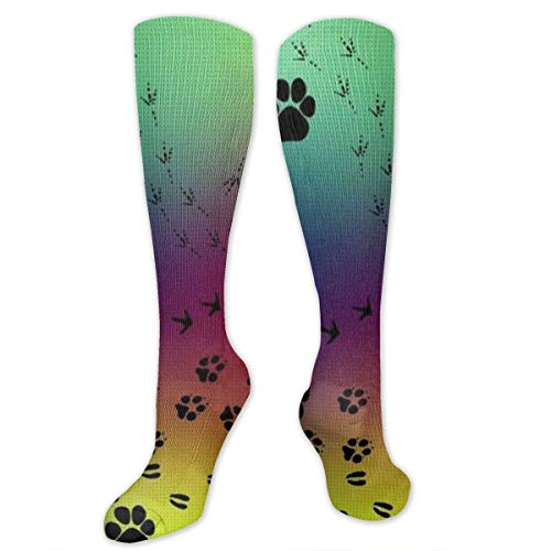 Socks for Women & Men Paw Prints Pattern Socks - Boost Performance Blood Circulation & Recovery - 23.6 Inches